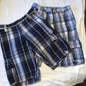 Wrangler bundle of 2 boys plaid cargo shorts